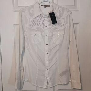 Guess white long sleeve shirt